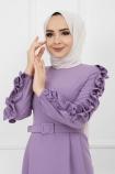 Kolu Fırfırlı Kalem Elbise - Lila