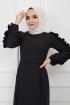 Kolu Fırfırlı Kalem Elbise - Siyah