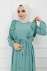 Ponpon İşlemeli Prenses Elbise - Mint Yeşili