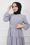 Kemer Detaylı Ponpon İşlemeli Elbise - Gri
