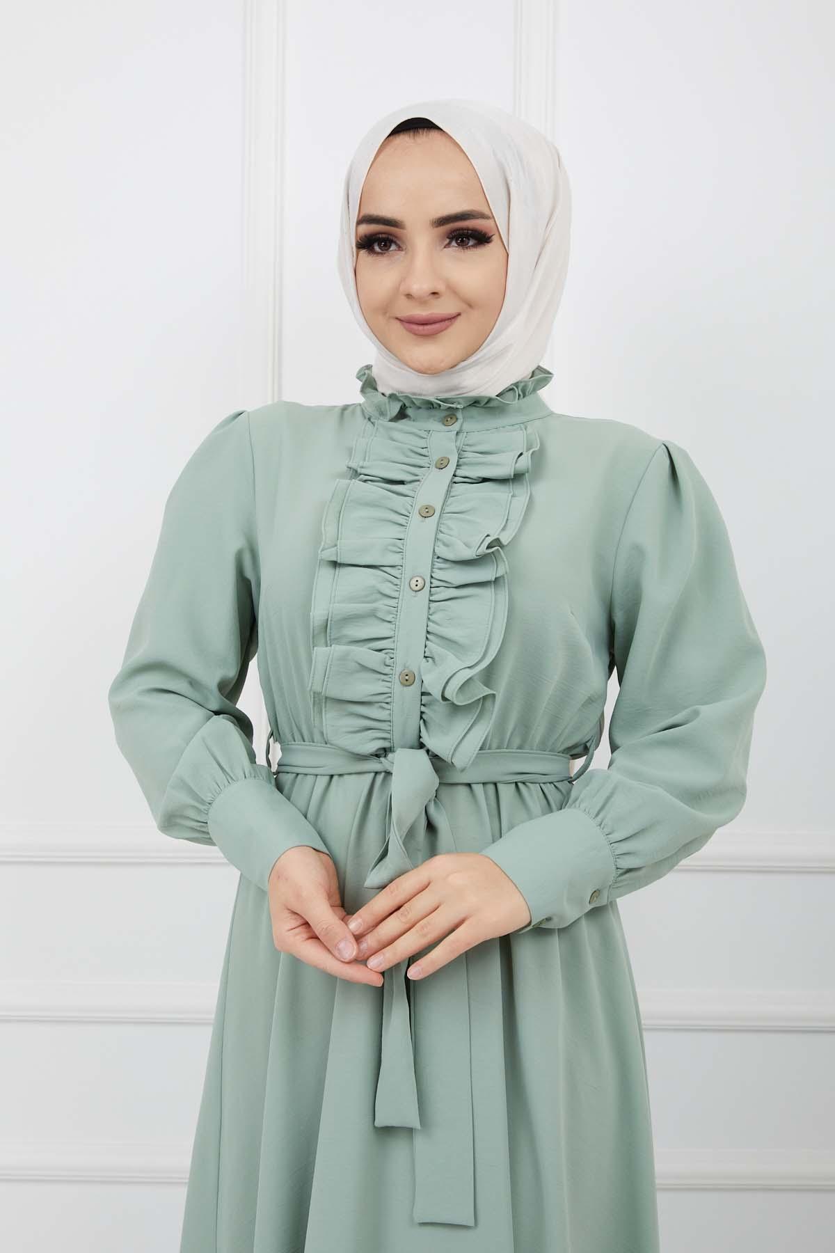 Önü Düğmeli Elbise - Mint Yeşili