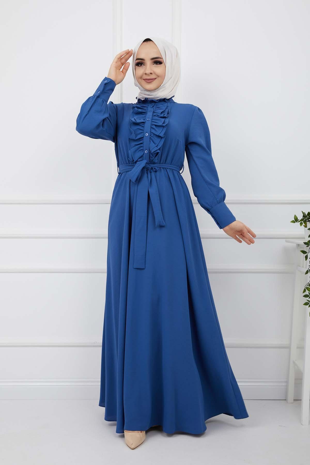 Önü Düğmeli Elbise - Mavi