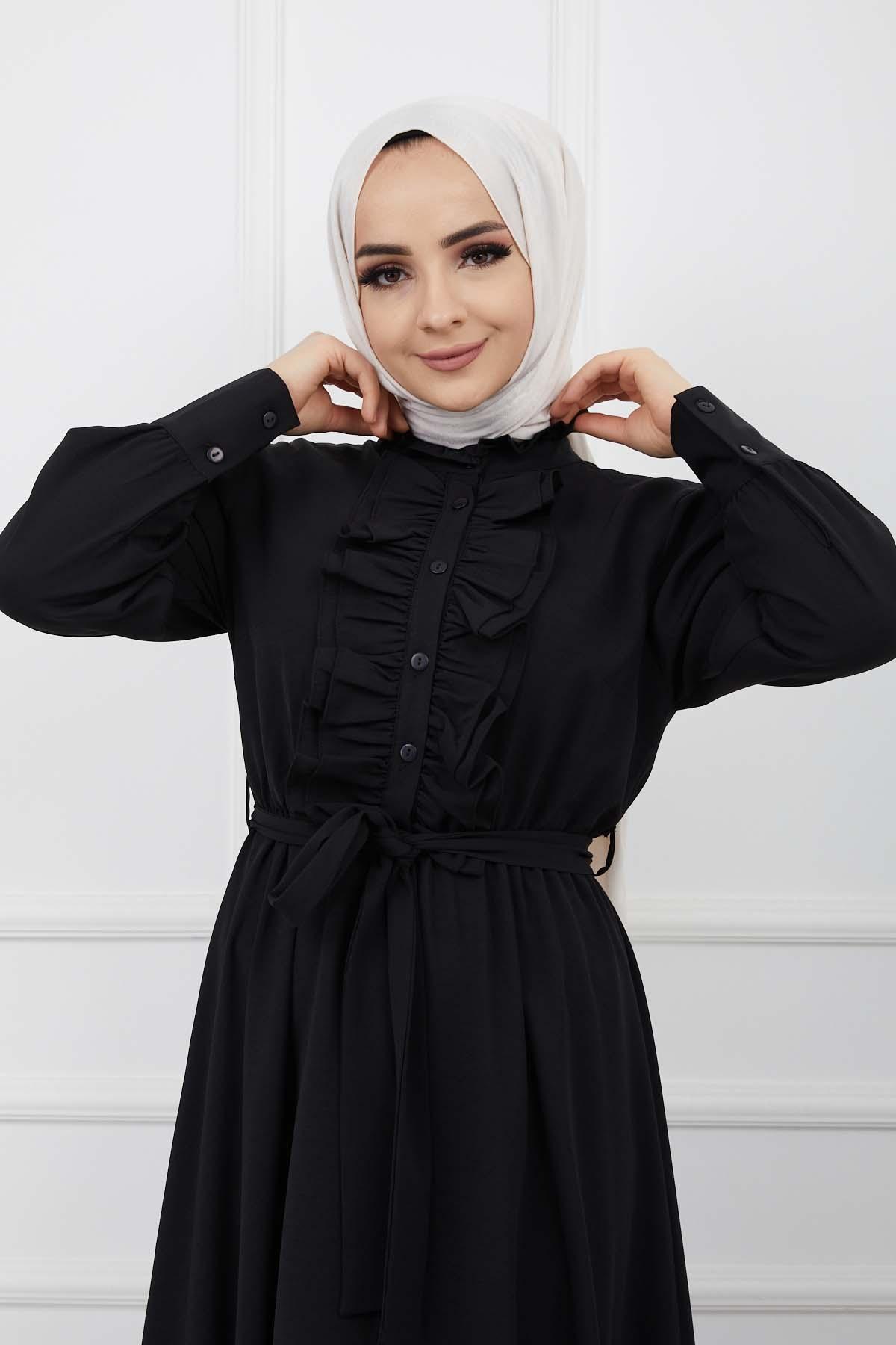 Önü Düğmeli Elbise - Siyah