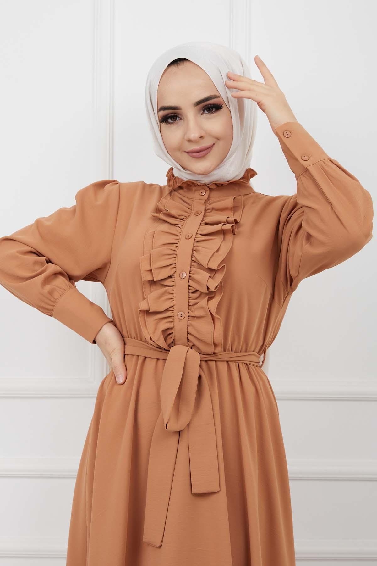 Önü Düğmeli Elbise - Taba