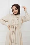 Önü Düğmeli Elbise - Taş