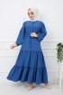 Eteği Dantelli Elbise - Mavi