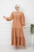 Eteği Dantelli Elbise - Kiremit
