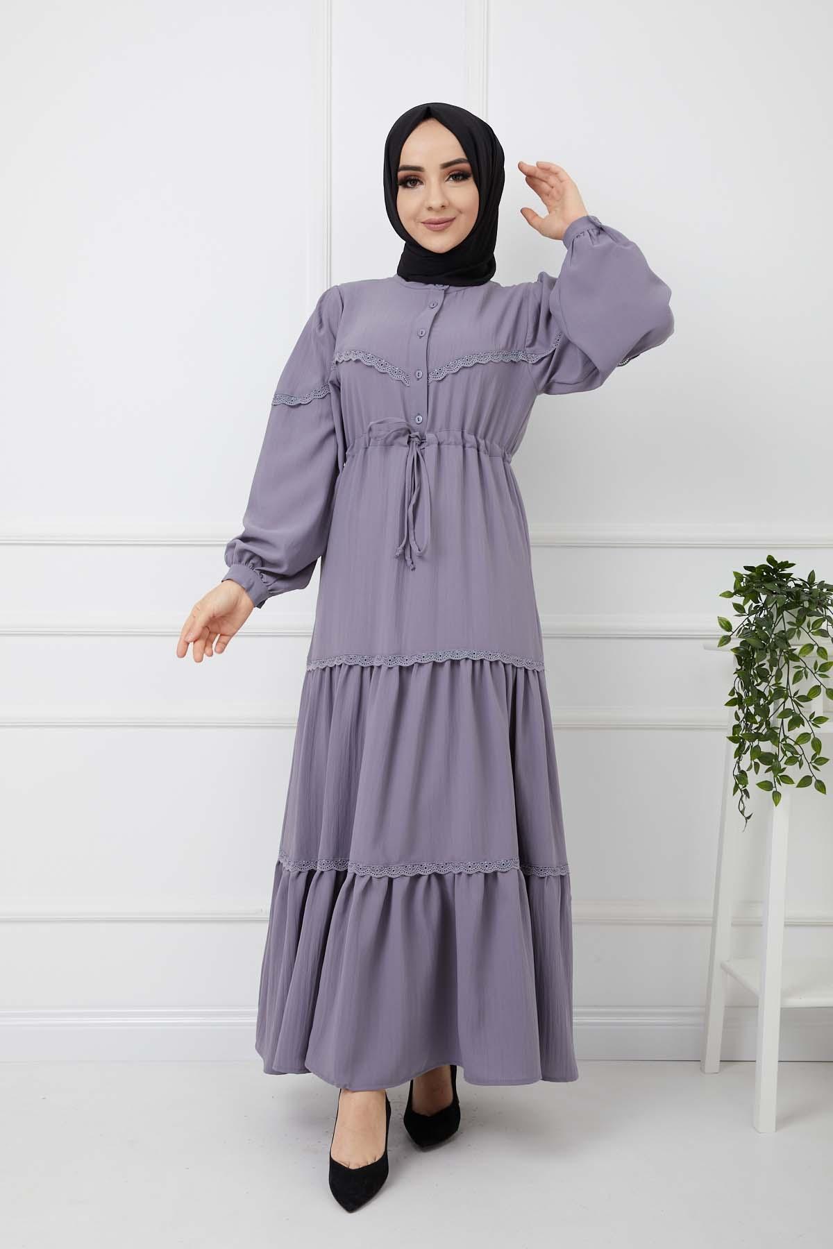 Eteği Dantelli Elbise - Gri