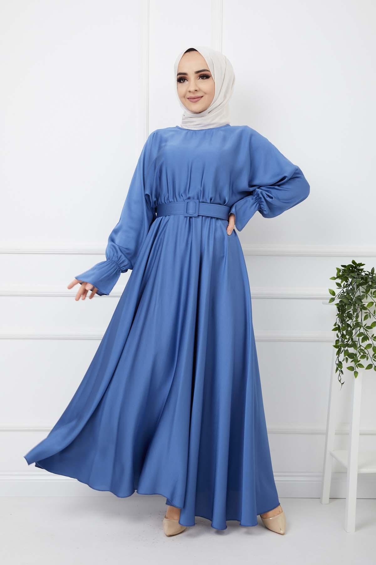 Kemerli Saten Elbise - Mavi