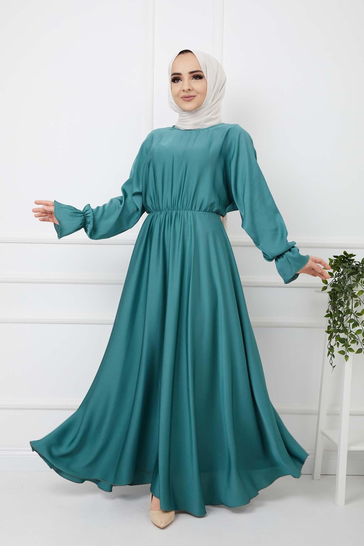 Kemerli Saten Elbise - Yeşil