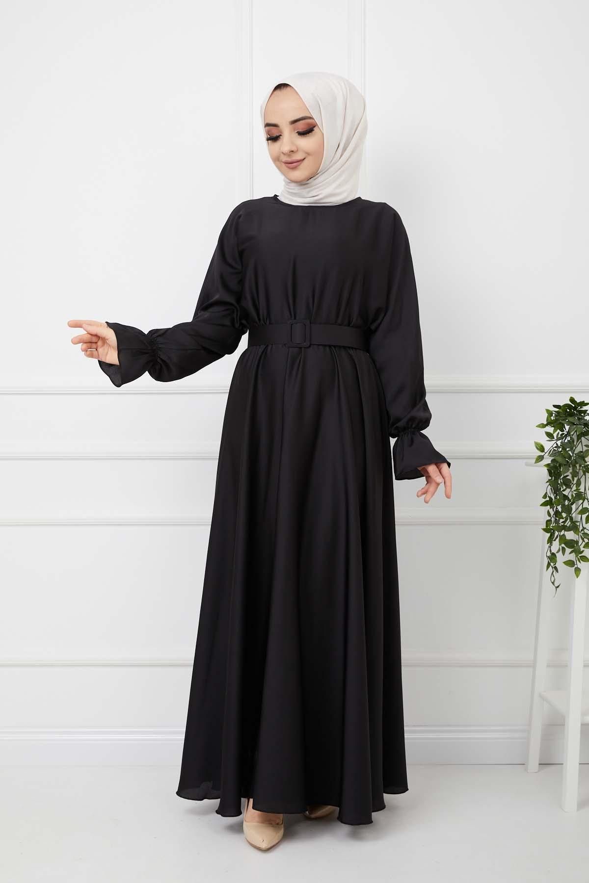 Kemerli Saten Elbise - Siyah