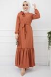 Omuzu Fırfırlı Geniş Ponponlu Elbise - Kiremit