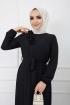 Omuzu Fırfırlı Geniş Ponponlu Elbise - Siyah