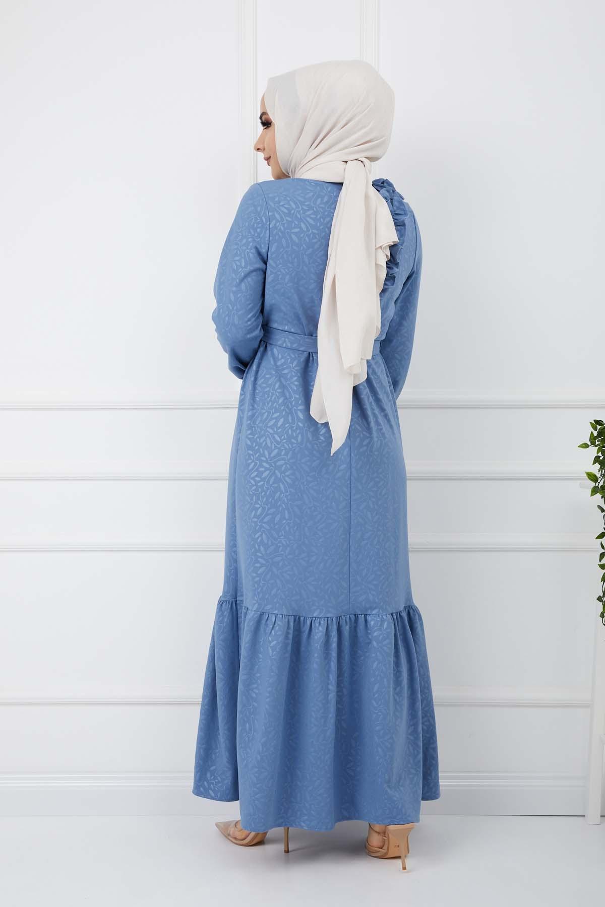Soğuk Baskılı Omuz Fırfırlı Elbise - Buz Mavisi