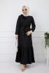Soğuk Baskılı Omuz Fırfırlı Elbise - Siyah
