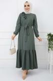 Soğuk Baskılı Omuz Fırfırlı Elbise - Haki
