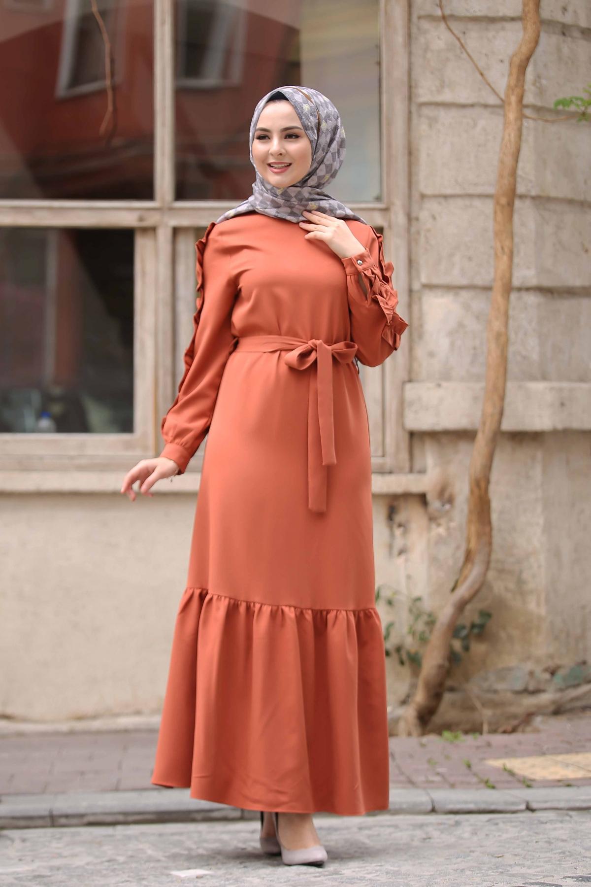 Kolu Fırfırlı Boydan Elbise - Mercan