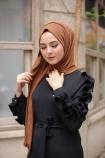 Kolu Fırfırlı Boydan Elbise - Siyah