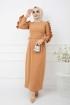 Kolu Fırfırlı Kalem Elbise - Soğan Kabuğu