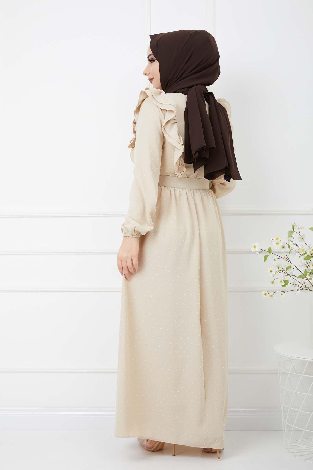 Ponpon İşlemeli Prenses Elbise - Krem