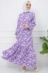 Hasır Kemerli Çiçek Desenli Fırfırlı Elbise - Lila