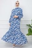 Hasır Kemerli Çiçek Desenli Fırfırlı Elbise - Mavi