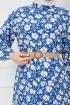 Çiçek Desenli Fırfırlı Elbise - Mavi