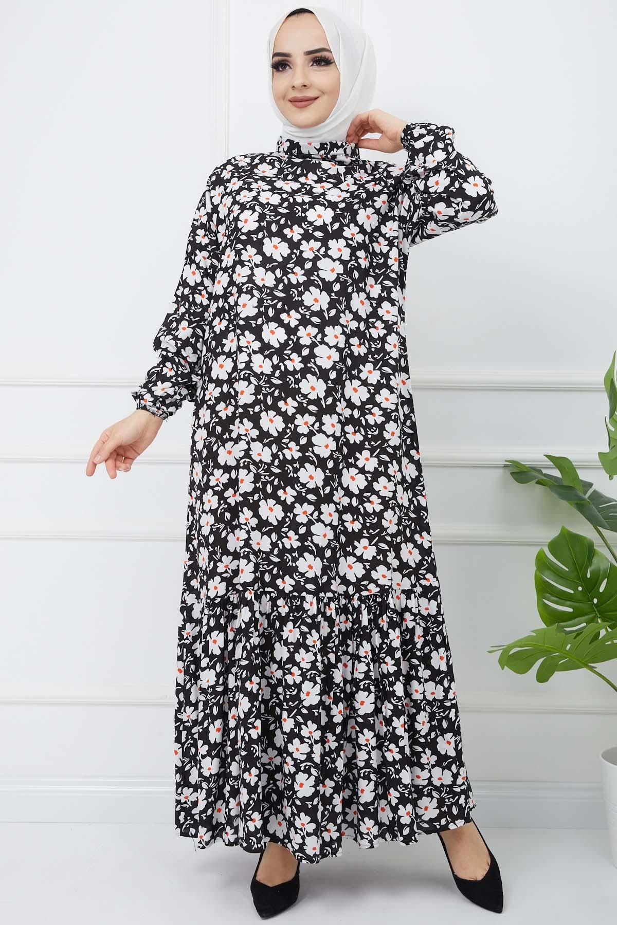 Çiçek Desenli Fırfırlı Elbise - Siyah