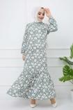 Çiçek Desenli Fırfırlı Elbise - Haki