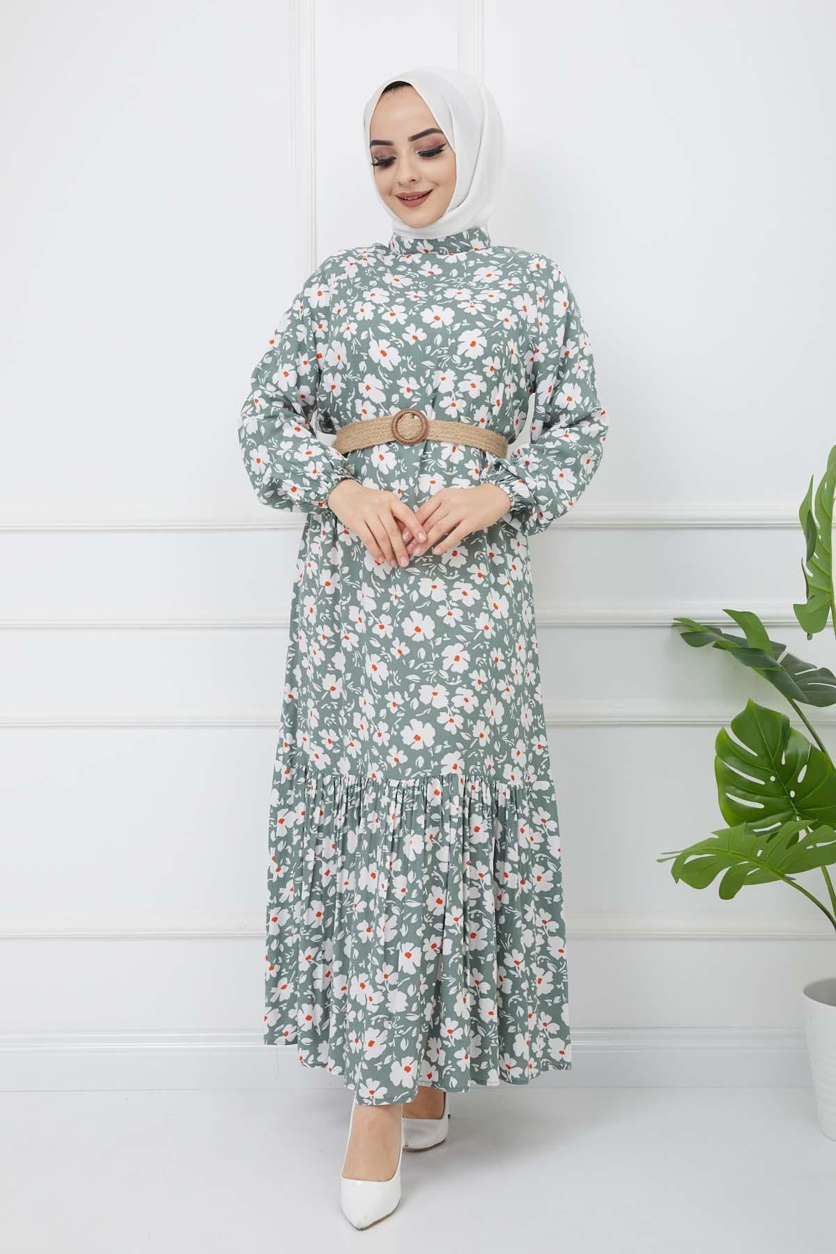 Hasır Kemerli Çiçek Desenli Fırfırlı Elbise - Haki