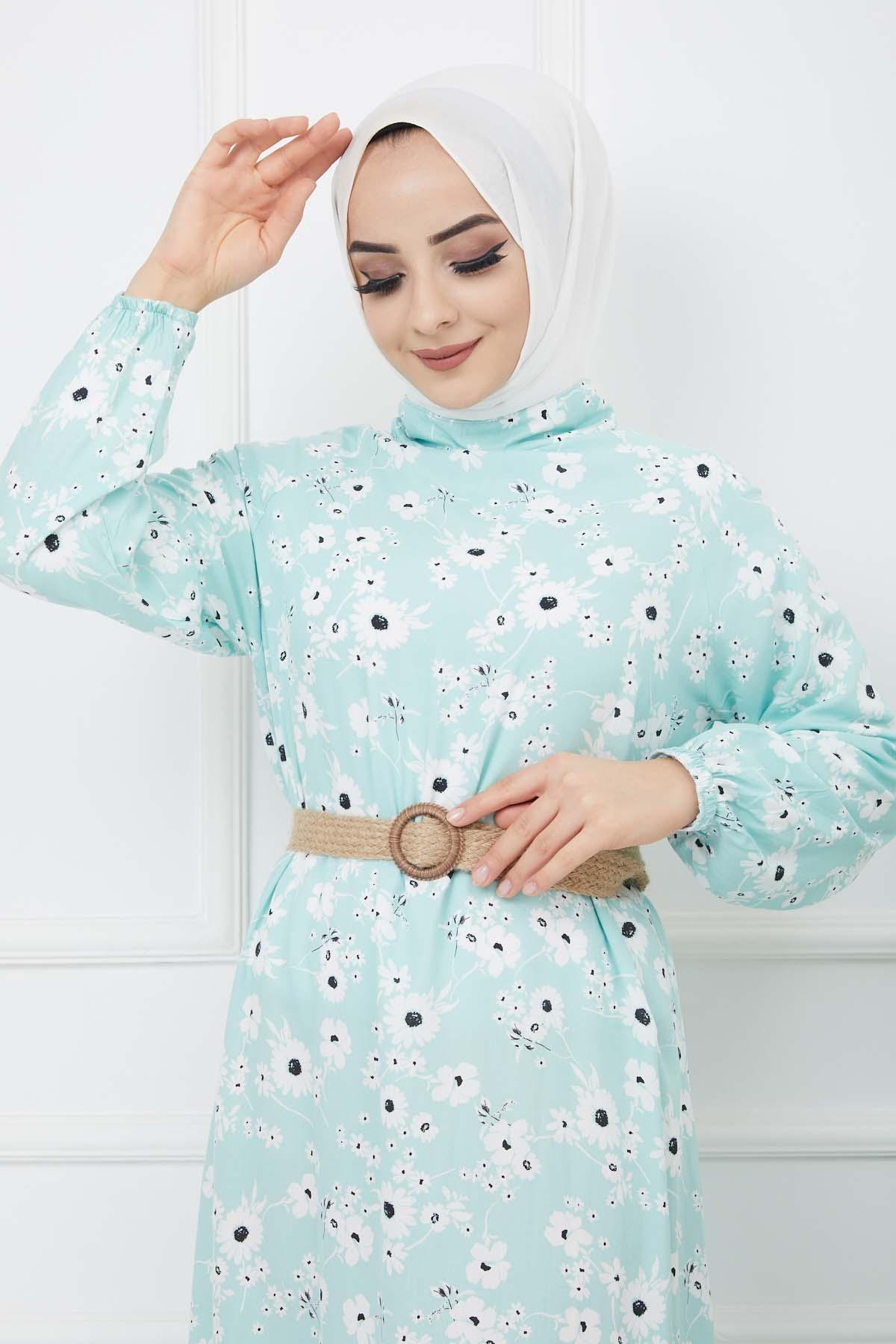 Hasır Kemerli Çiçek Desenli Fırfırlı Elbise - Mint Yeşili