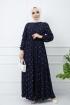 Çapa Desenli Elbise - Lacivert