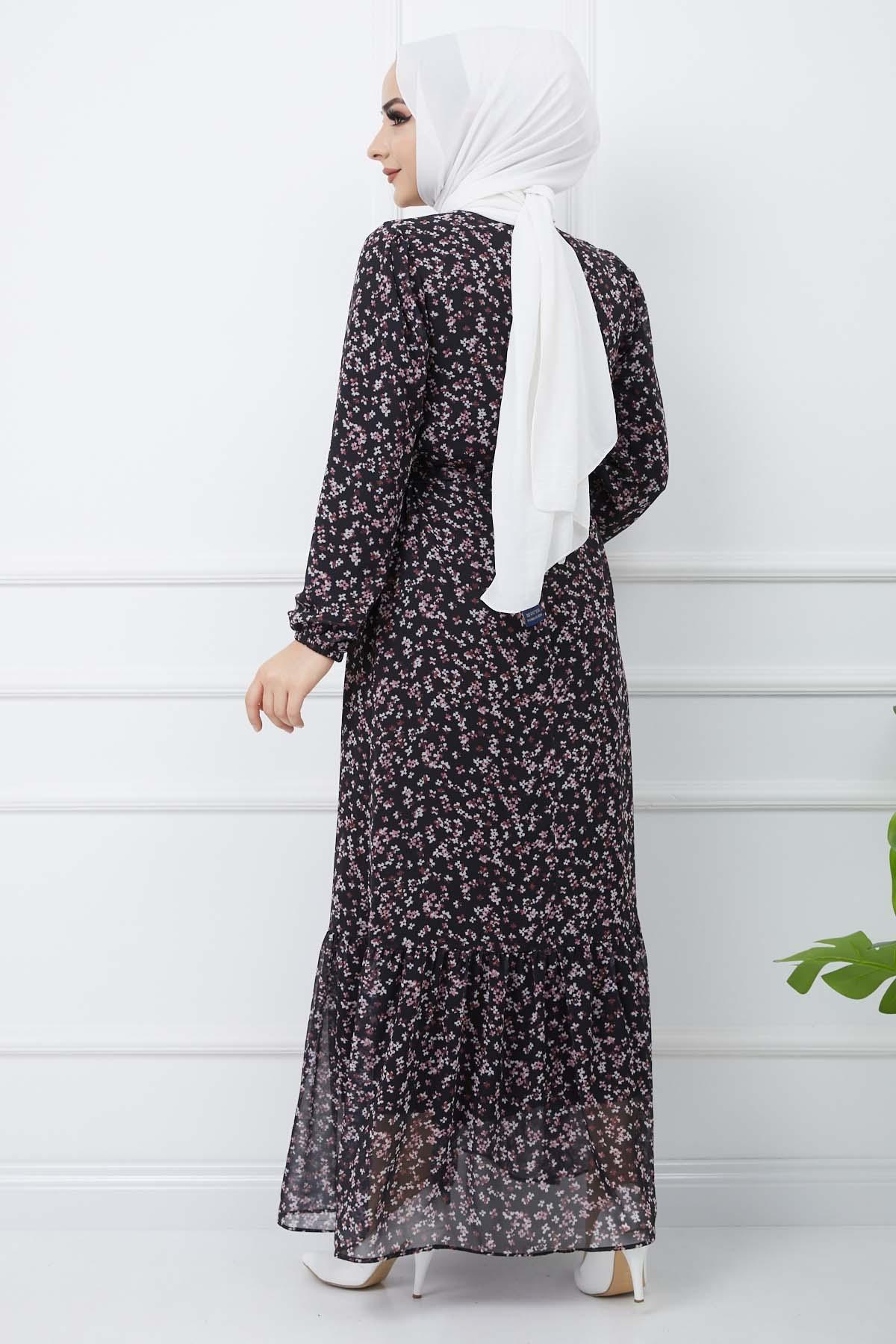 Şifon Elbise - Siyah