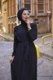 Fırfırlı Sultan Elbise - Siyah