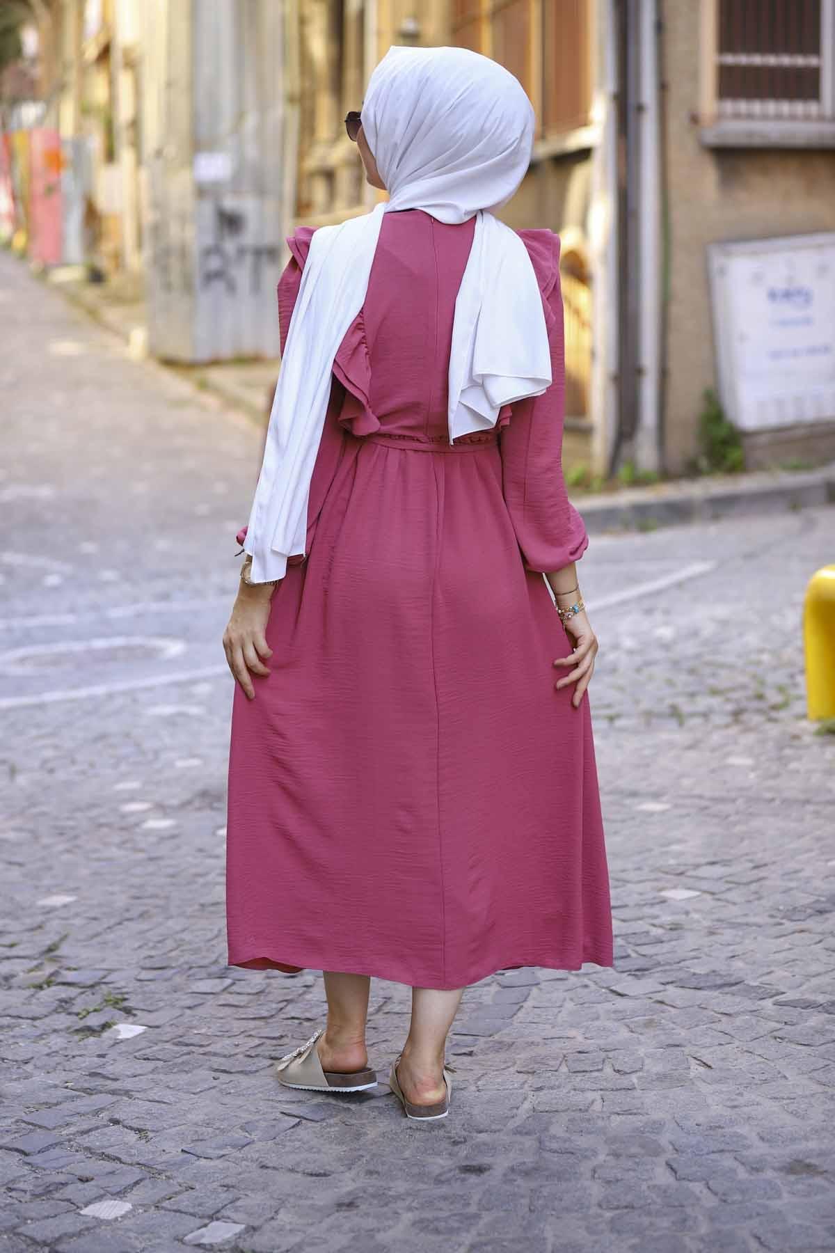 Fırfırlı Sultan Elbise - Şeker Pembesi