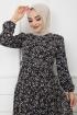 Kemerli Şifon Elbise - Siyah