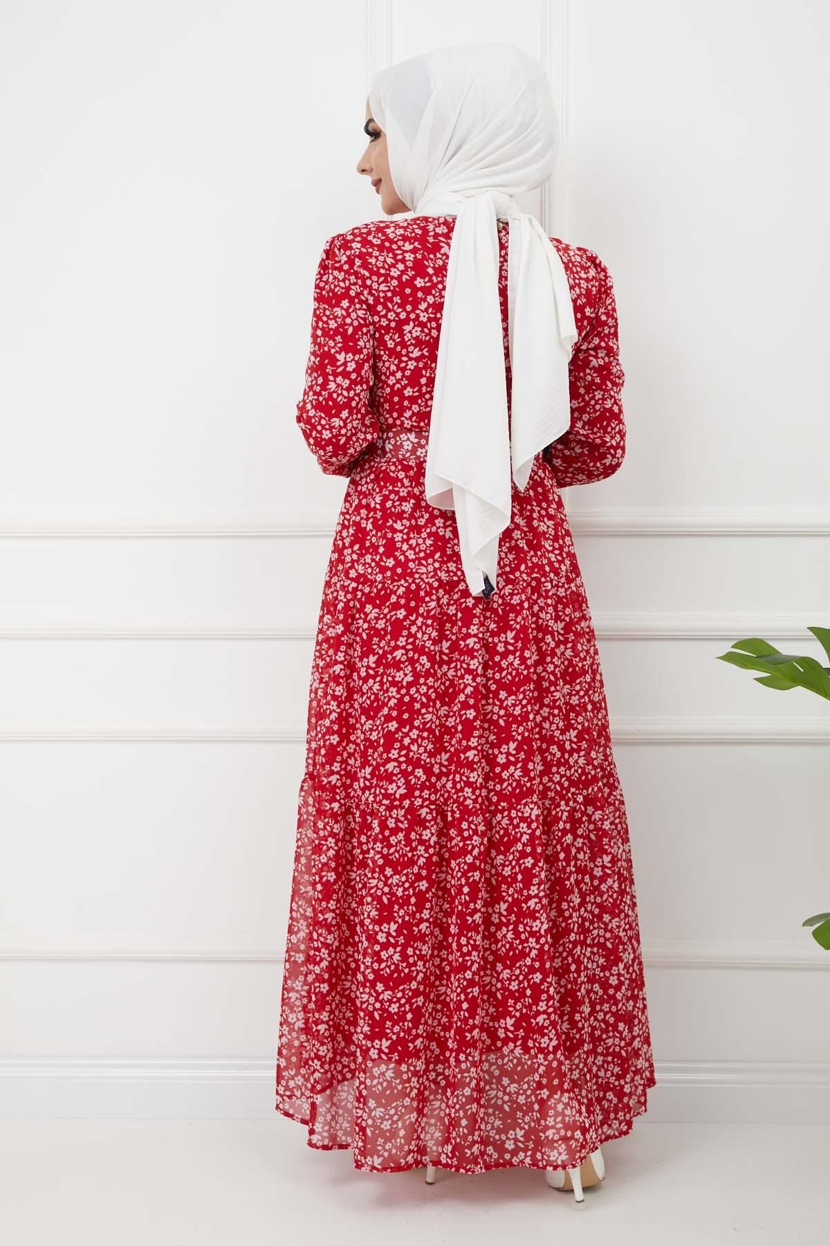Kemerli Şifon Elbise - Kırmızı