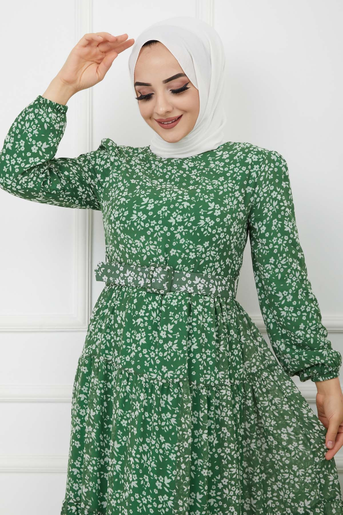 Kemerli Şifon Elbise - Yeşil