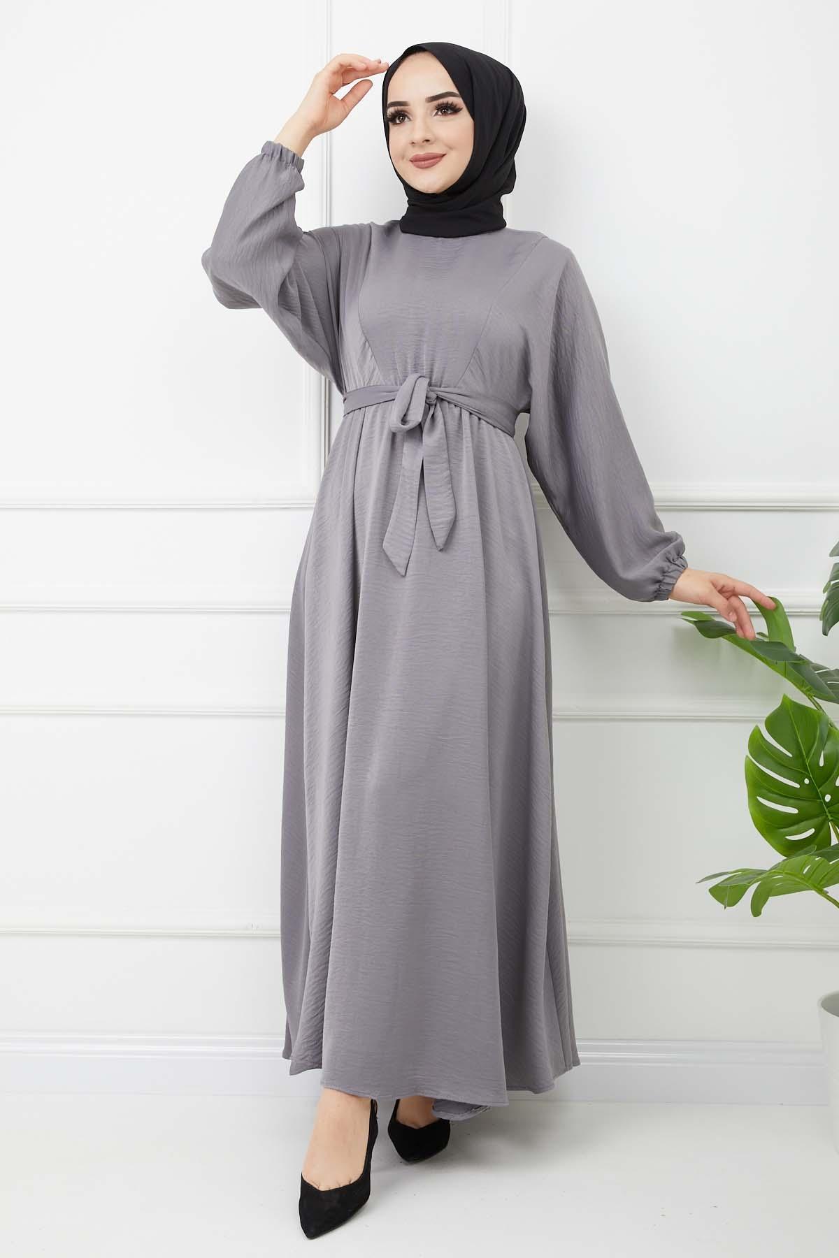 Ayrobin Saten Elbise - Gri