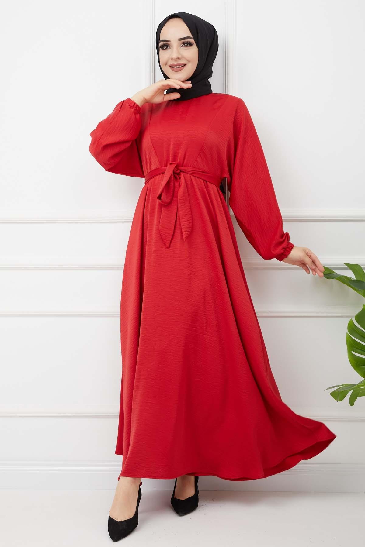 Ayrobin Saten Elbise - Kırmızı