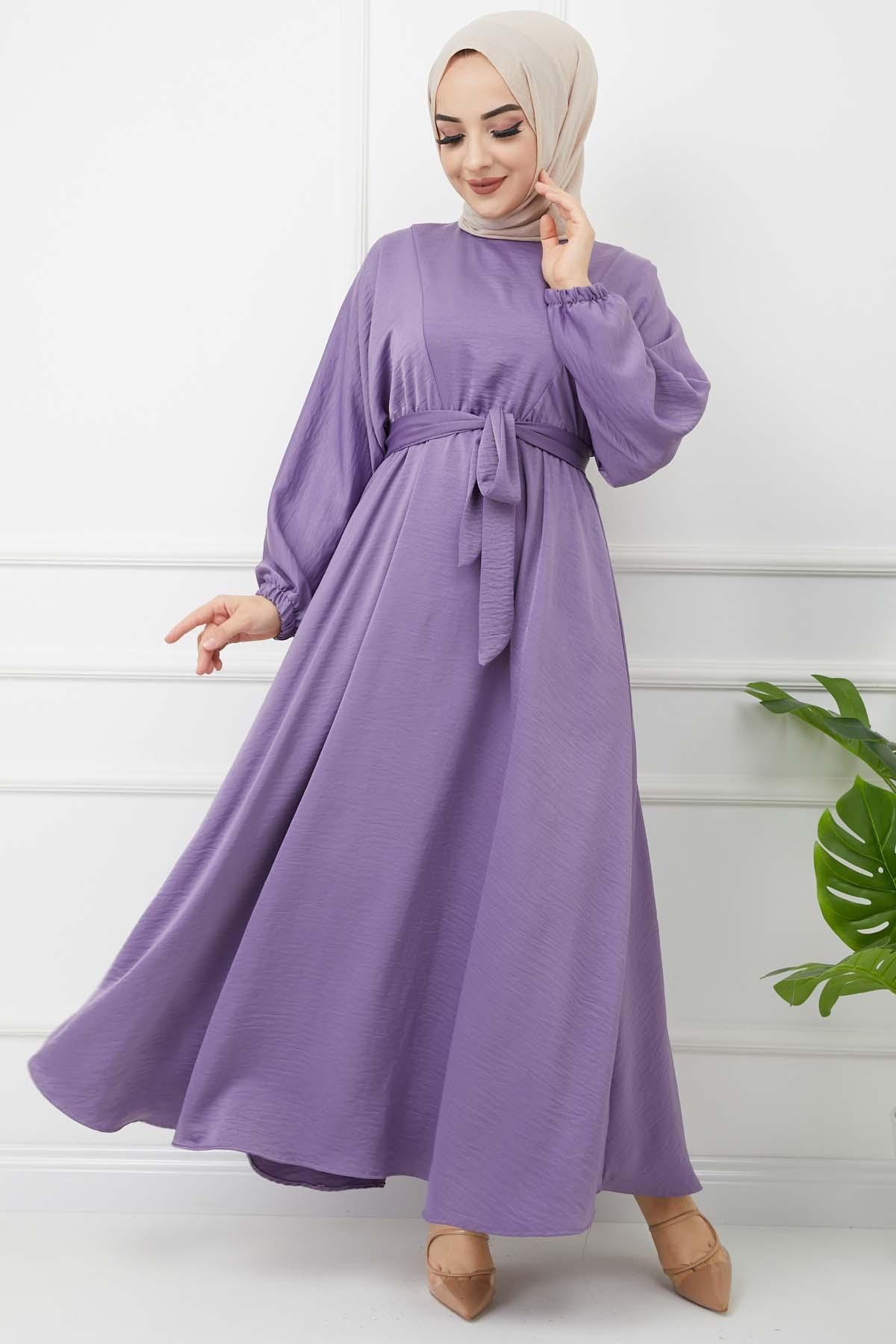 Ayrobin Saten Elbise - Mor