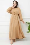 Ayrobin Saten Elbise - Gold