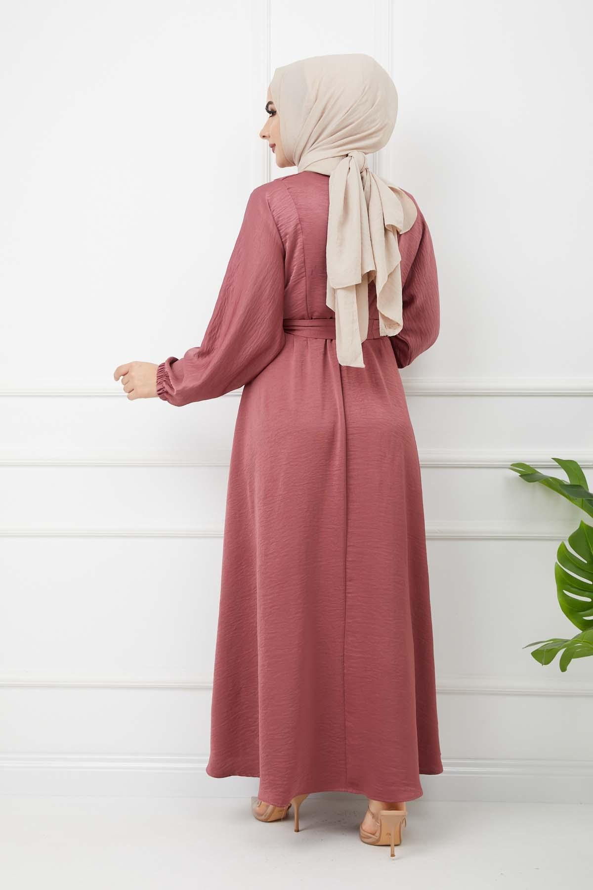 Ayrobin Saten Elbise - Gül