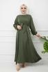 Ayrobin Saten Elbise - Yeşil