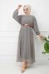 Deri Kemerli Şifon Elbise - Gri