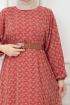 Deri Kemerli Şifon Elbise - Kırmızı