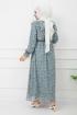 Fırfırlı Şifon Elbise - Çağla