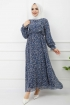 Fırfırlı Şifon Elbise - İndigo