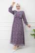 Fırfırlı Şifon Elbise - Mor