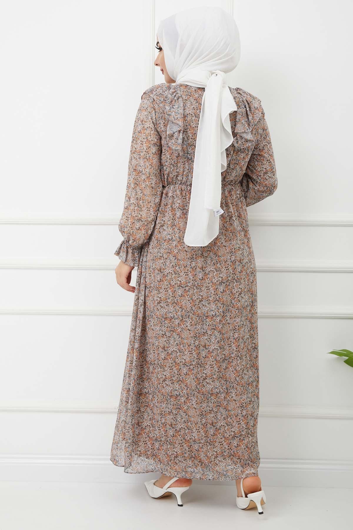Fırfırlı Şifon Elbise - Bej